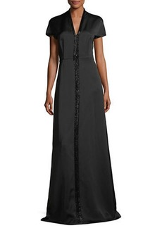 Escada Duchesse Satin Beaded V-Neck Gown