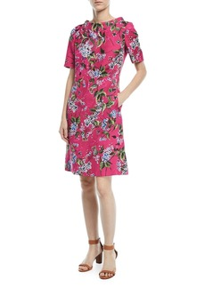 Escada Elbow-Sleeve Floral-Print Jacquard A-Line Dress