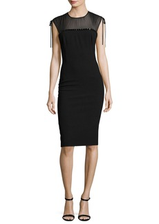 Escada Embroidered Georgette-Yoke Sheath Dress