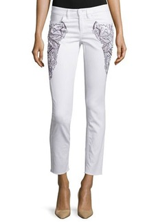 Escada Embroidered Skinny Cropped Jeans