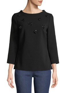 Escada Eyelash-Embellished 3/4-Sleeve Crepe Top