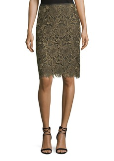Escada Floral-Lace Lurex® Pencil Skirt