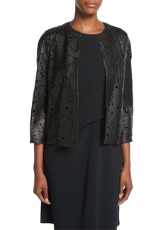 Escada Floral Laser-Cut Leather Jacket