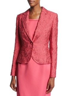 Escada Floral Matelasse One-Button Blazer