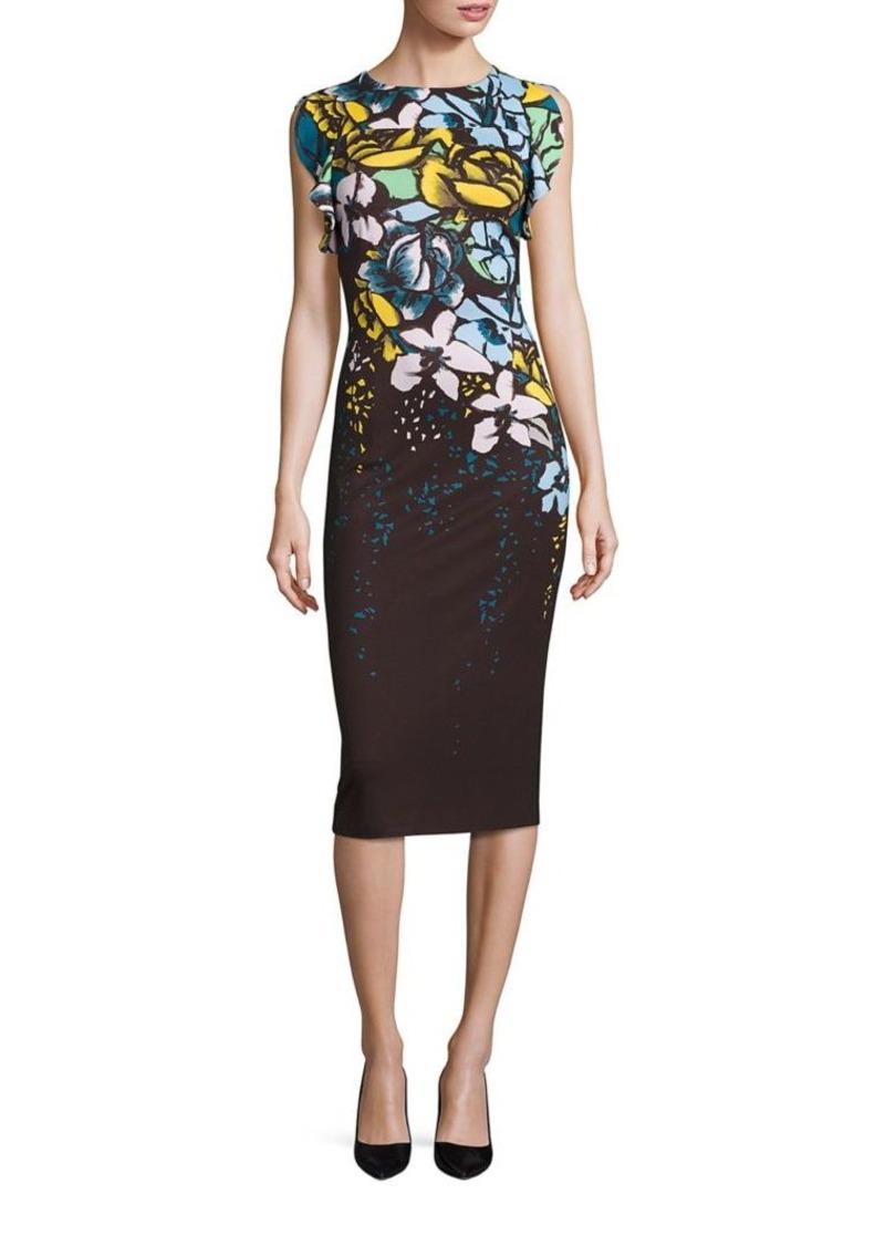 Escada Floral-Print Flutter-Sleeve Dress