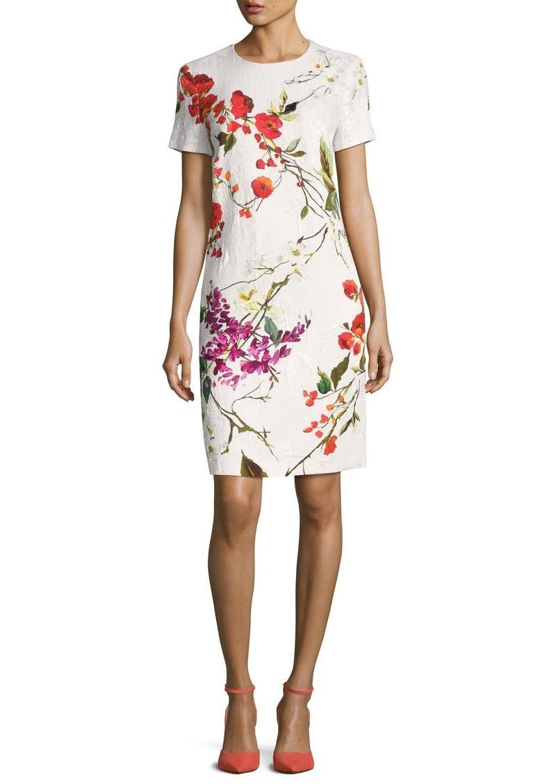 df35978315fc Escada Escada Floral-Print Matelasse Sheath Dress