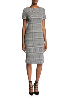 Escada Glen Plaid Short-Sleeve Sheath Dress