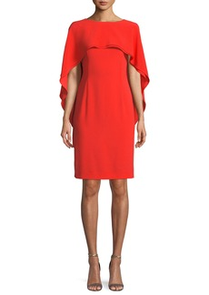 Escada Jewel-Neck Capelet Crepe Sheath Dress