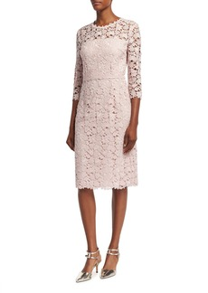 Escada Lace 3/4-Sleeve Sheath Dress
