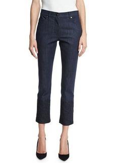 Escada Lace-Hem Skinny Ankle Jeans