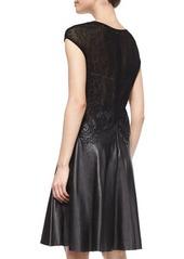 Escada Lace Knit & Leather Combo Dress