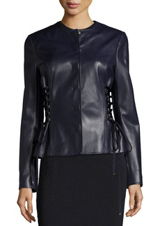 Escada Leather Jacket with Lace-Up Sides
