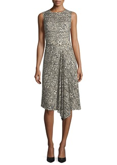 Escada Leopard Virgin Wool Handkerchief-Hem Dress