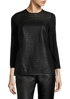 Escada Linda Leather-Front Jersey Top