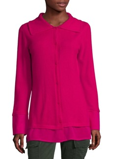 Escada Long-Sleeve Button-Front Cashmere Top
