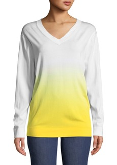 Escada Long-Sleeve V-Neck Dégradé Knit Pullover Sweater