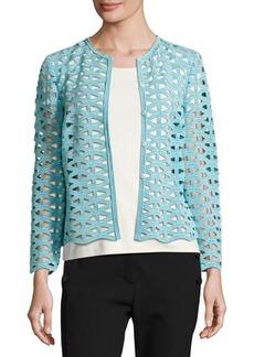 Escada Macramé Lace Long-Sleeve Jacket
