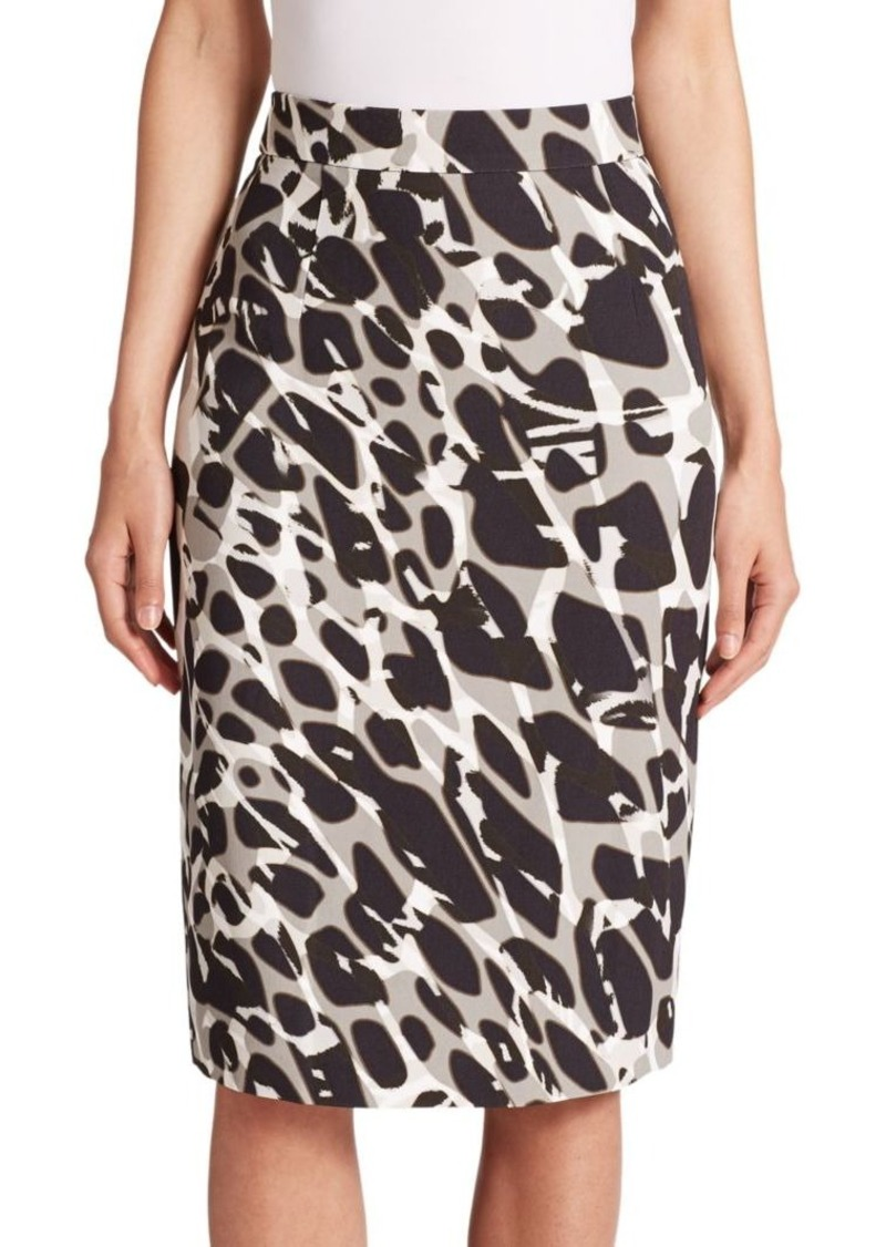 Escada Marble-Print Pencil Skirt
