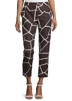 Escada Mid-Rise Giraffe-Print Cropped Pants