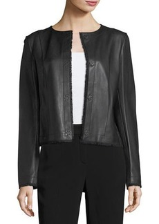 Escada Napa Leather Fringe-Trim Jacket