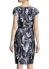Escada Paisley-Print Jacquard Belted Dress