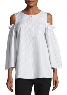 Escada Pinstripe Cold-Shoulder Blouse