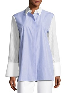Escada Pinstripe Wide-Cuff Tunic Blouse