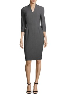 Escada Pixie-Print V-Neck Sheath Dress