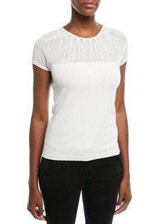 Escada Pleated Crewneck Illusion Cap-Sleeve Knit Top