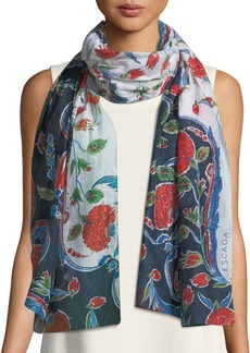 Escada Pottery Floral-Print Cotton-Silk Scarf