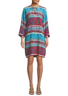 Escada Pottery-Print Long-Sleeve Silk Tunic