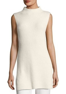 Escada Ribbed Wool-Cashmere Mock-Neck Tunic