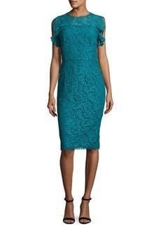 Escada Ruffled-Sleeve Lace Dress