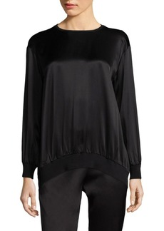 Escada Satin & Jersey Combo Top