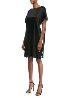 Escada Satin Capelet Cocktail Dress with Contrast Inset