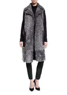 Escada Shearling Leather-Pocket Sleeveless Coat
