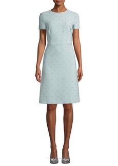 Escada Short-Sleeve Allover Stone-Embroidered A-Line Dress