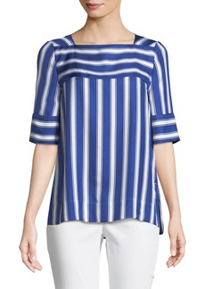 Escada Short-Sleeve Cabana-Striped Silk Blouse