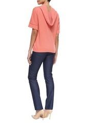 Escada Short-Sleeve Cashmere Cowl-Back Sweater