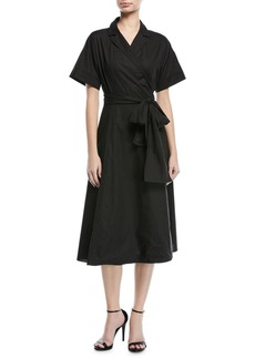 Escada Short-Sleeve Cotton Poplin Wrap Dress