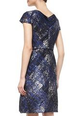 Escada Short-Sleeve Embroidered-Neck Dress