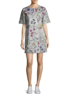 Escada Short-Sleeve Floral-Print Sweatshirt Dress