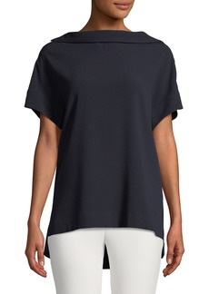 Escada Short-Sleeve High-Neck Crepe Blouse