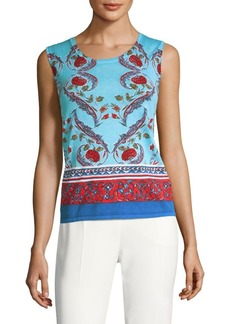 Escada Sime Floral Wool Sleeveless Top