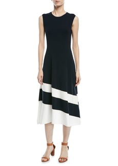 Escada Sleeveless Fit-and-Flare Diagonal-Stripe Midi Dress