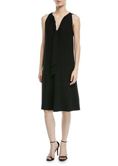 Escada Sleeveless Tie-Neck A-Line Plisse Crepe Dress