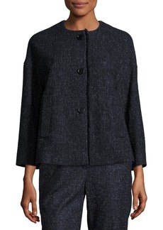 Escada Snowflake Tweed Fringe-Trim Jacket