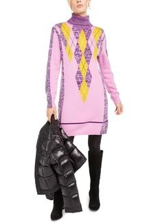 Escada Sport Argyle Turtleneck Sweater Dress
