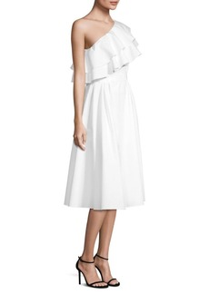 Escada Dafaeli Shoulder Ruffle Dress