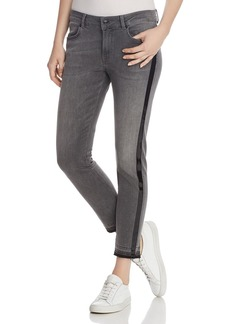 Escada Sport Patent-Stripe Cropped Jeans in Vapour